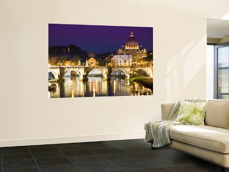 St Peter's Basilica from the Tiber River at Dusk Wall Mural