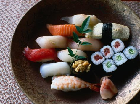 Sushi in a Wooden Bowl, Japan, Photographic Print