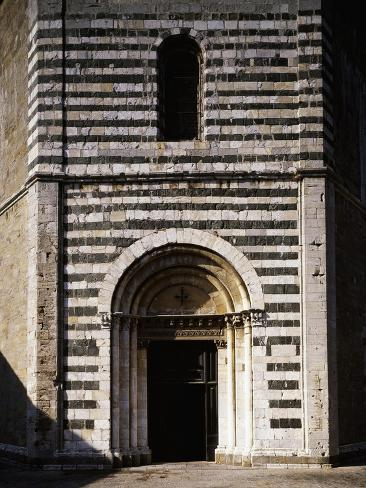 Glimpse of the Facade with its Romanesque Doorway, Baptistery of St John, Volterra, Tuscany, Italy Giclee Print