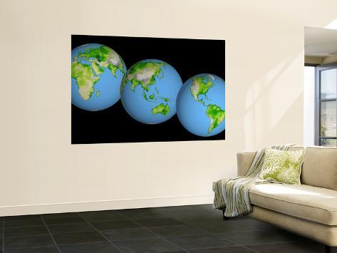 Globes of the World Wall Mural