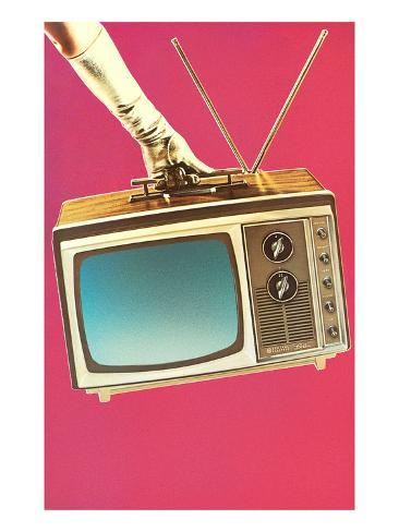 Gloved Arm Carrying Portable TV Art Print