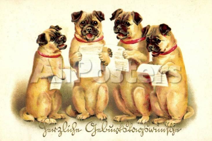 Gluckwunsch Geburtstag Vier Singende Hunde Giclee Print At