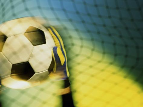Goalie Holding a Soccer Ball Lámina fotográfica