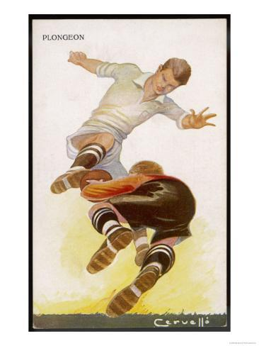 Goalkeeper Makes a Brave Save at the Feet of an Oncoming Striker Giclee Print