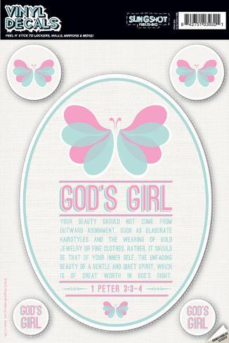 God's Girl (Pink Butterfly) Vinyl Decal Adesivo de parede