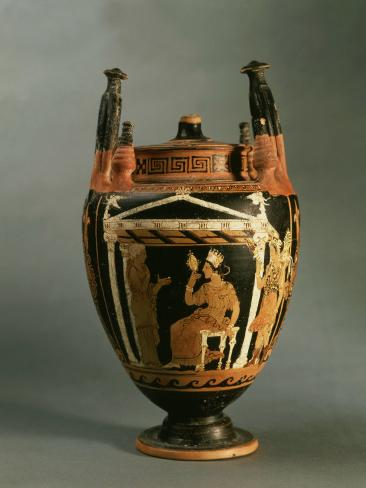 Goddess Aphrodite Looking into Mirror, Vase, Sicilian-Italian manufacture, 4th century BC Greek Photographic Print
