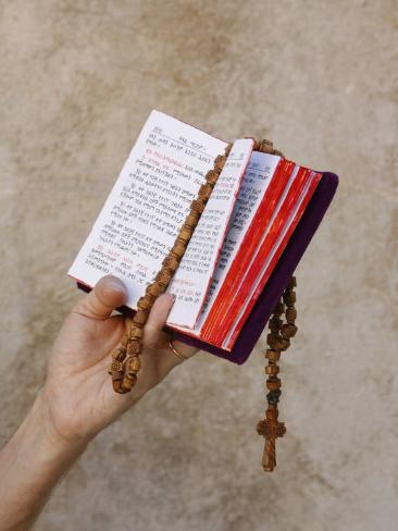 Bible and Rosary Photographic Print