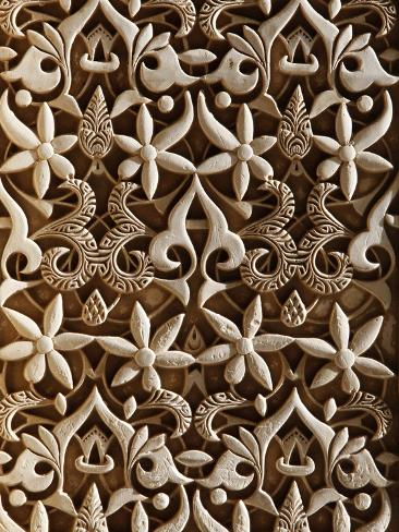 Detail, Nasride Palace Sculptures, Alhambra, UNESCO World Heritage Site, Granada, Andalucia, Spain, Photographic Print