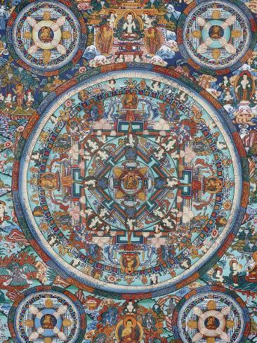 Mandala on a Tibetan Thangka, Bhaktapur, Nepal, Asia Photographic Print