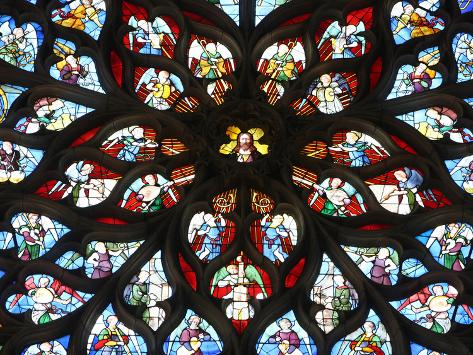 Rose Window, St. Stephen's Cathedral, Sens, Yonne, Burgundy, France, Europe Photographic Print