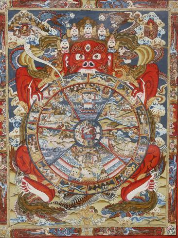 Wheel of Life, Kopan Monastery, Bhaktapur, Nepal, Asia Photographic Print