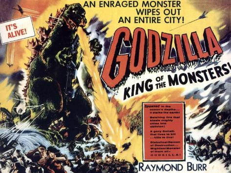 Godzilla, King of the Monsters, UK Movie Poster, 1956 Art Print