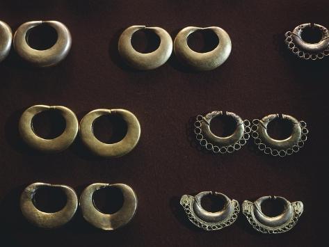 Gold Earrings Originating from Tayrona Giclee Print