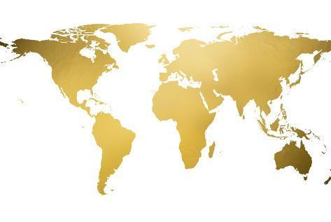 Gold world map gold foil prints at allposters gold world map gold foil gumiabroncs Choice Image