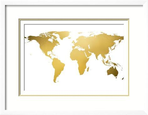 Gold world map gold foil lminas en allposters gold world map gold foil lmina enmarcada gumiabroncs Images