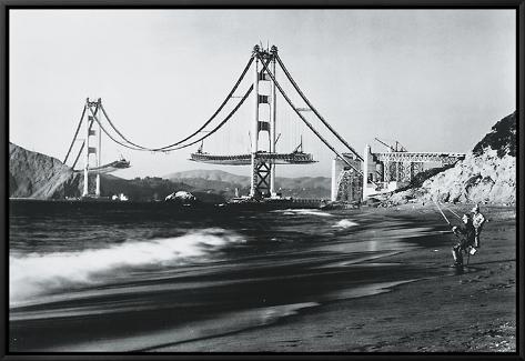 Golden Gate Fishermen, San Francisco Framed Canvas Print
