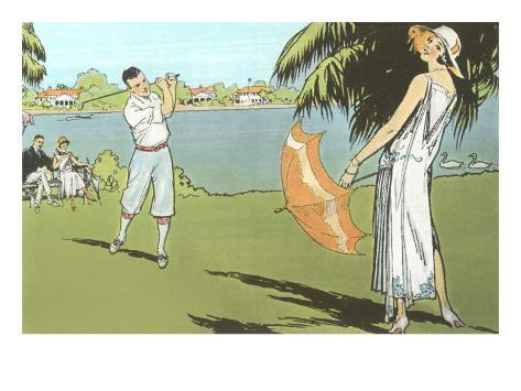 Golfer and Lady with Umbrella Art Print