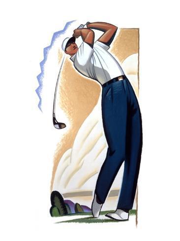 Golfer Swinging Club Stretched Canvas Print