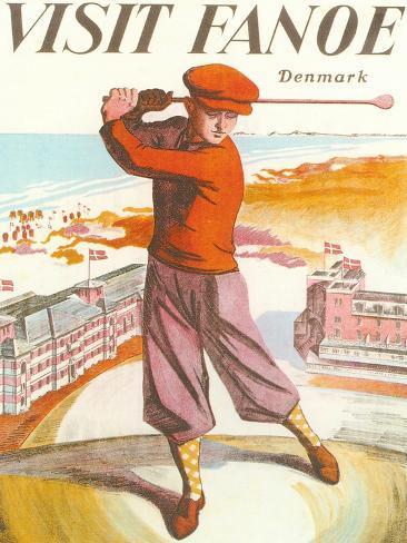 Golfing in Denmark Art Print