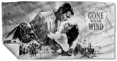 Gone With The Wind - Bw Poster Beach Towel Beach Towel