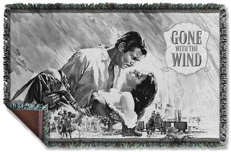 Gone With The Wind - Bw Poster Woven Throw Throw Blanket