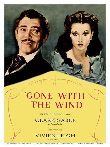 Gone With The Wind Motion Picture - Starring Clark Gable, Vivian Leigh Art Print