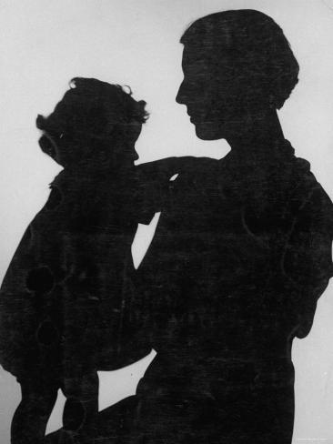 Good Silhouette of a Mother and Child Photographic Print