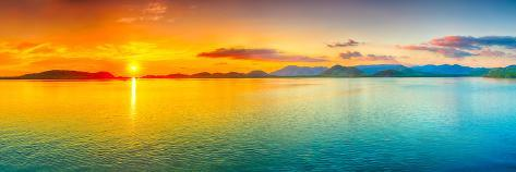 sunrise over the sea panorama photographic print by goodolga at