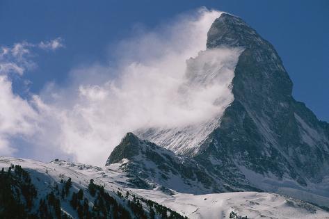 Snow Blows off of the Matterhorn Above Zermatt Wall Mural
