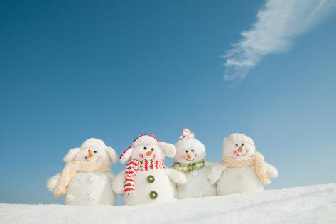 Happy Snowman Team Photographic Print
