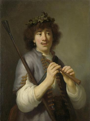 Rembrandt as Shepherd with Staff and Flute Art Print