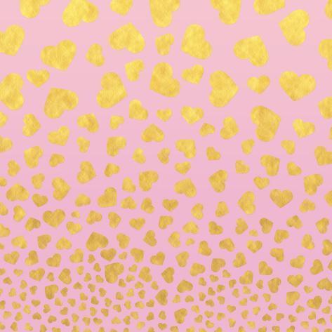 Pink Gold Glitter Pattern Hearts-Square Art Print