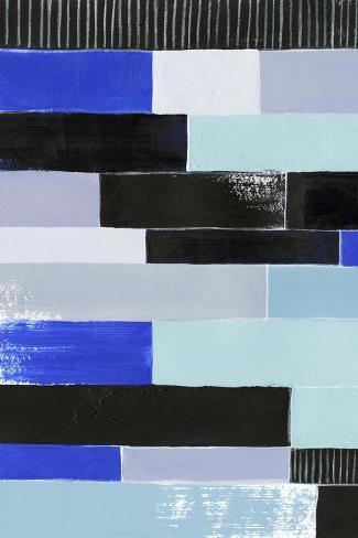 Black & Blue Bricks I Art Print