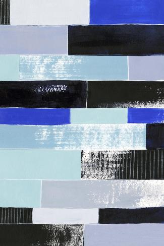 Black & Blue Bricks II Art Print