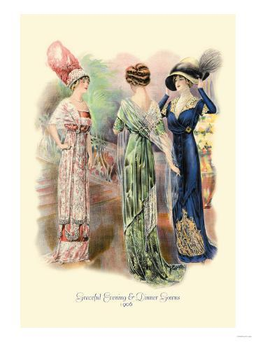 Graceful Evening and Dinner Gowns Stampa artistica