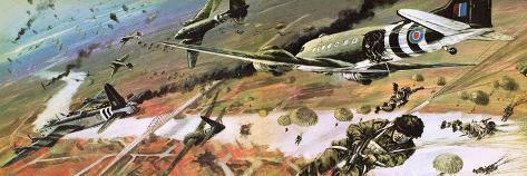 British 1st Airborne Division Dropping on Arnhem on 17th September, 1944 Giclee Print