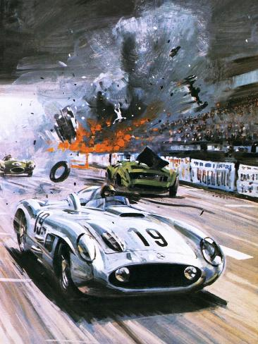 Mercedes Crash in the 1955 Le Mans Race Giclee Print