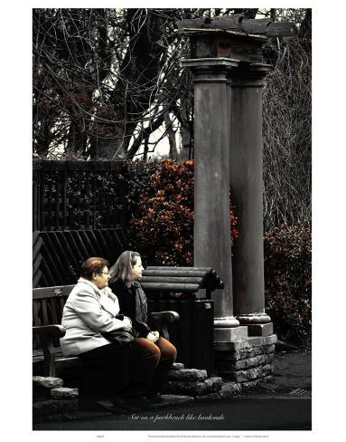 Sat on a Park Bench Like Bookends Art Print
