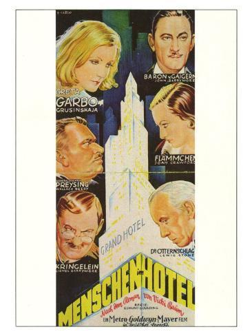 Grand Hotel, German Movie Poster, 1932 Art Print
