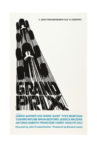 Grand Prix, Poster Art by Saul Bass, 1966 Giclee Print