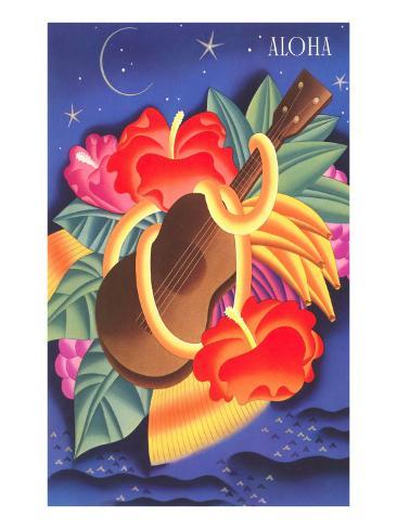 Graphic of Ukulele and Tropical Flowers, Aloha Art Print