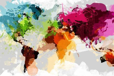 Colourful World Map Prints By Graphinc Allposters Co Uk