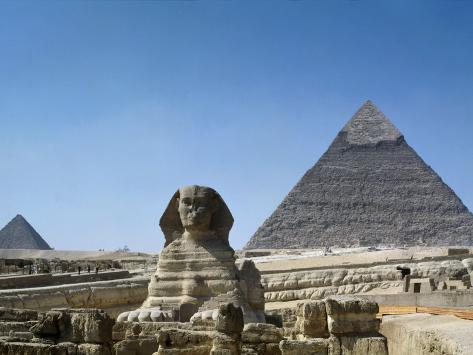Great Sphinx and Pyramid of Khephren and Menkaure (to left) 4th dynasty, Giza, Egypt Photographic Print