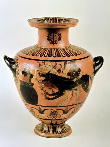 Archaic Ionian Hydria Depicting Heracles Bringing Cerberus to Eurystheus, 530 BC Giclee Print