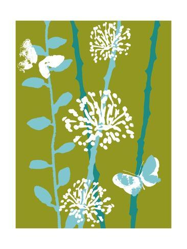 Green and Blue Color Print with Flowers and Butterfly Photo