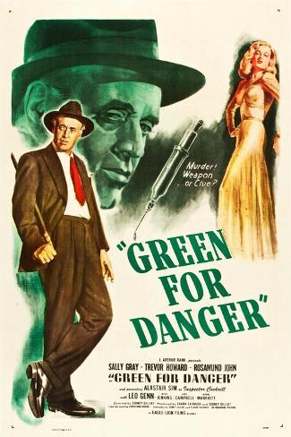 Green for Danger, Alastair Sim, Sally Gray on US poster art, 1946 Stampa artistica