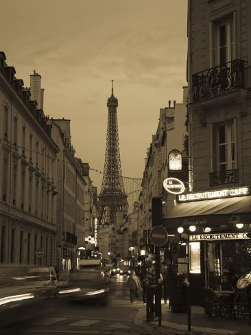 Street with a Tower in the Background at Dusk, Eiffel Tower, Champ De Mars, Paris, Ile-De-France... Photographic Print