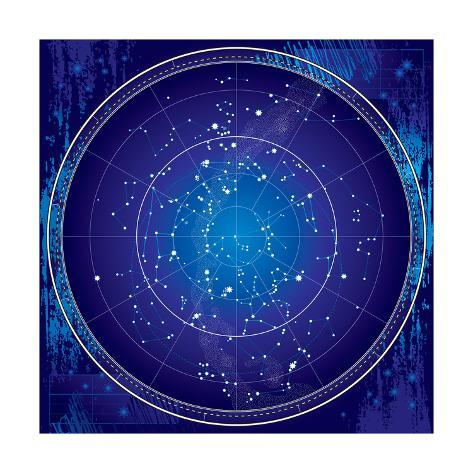 Celestial Map of the Night Sky Posters by Green Ocean  AllPosters