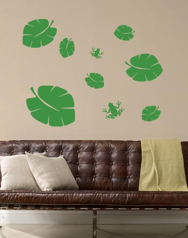 Green Tropical Leaves with Frogs Wall Decal