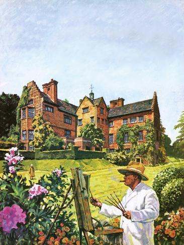 Winston Churchill Painting at Chartwell Giclee Print